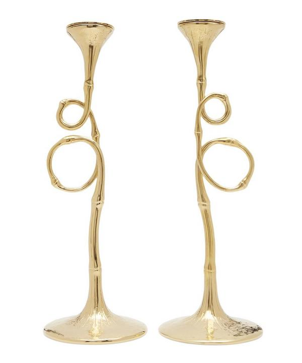 Evoca Gold-Plated Candlesticks Set of Two