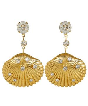 Gold-Tone Coquina Crystal Shell Drop Earrings