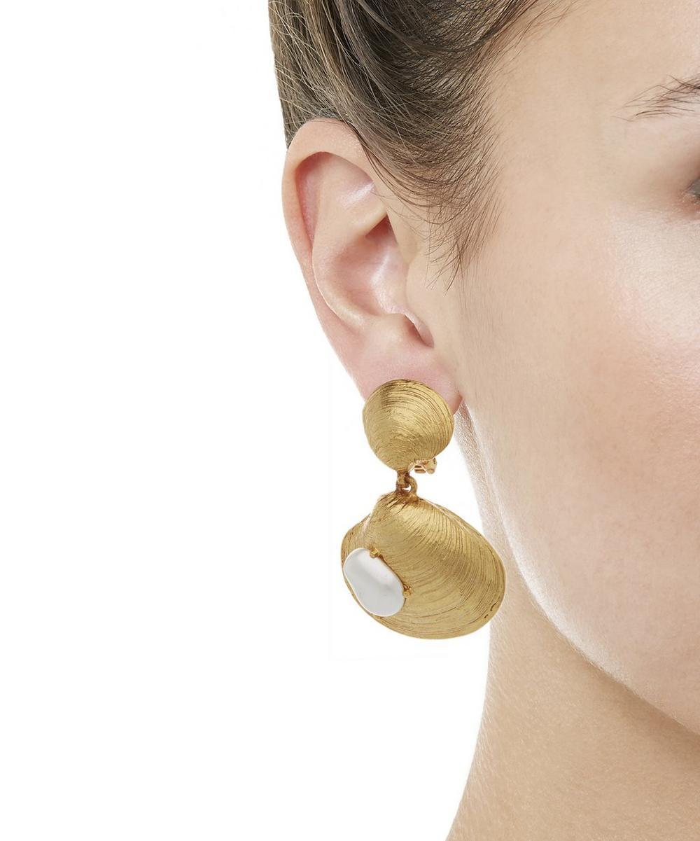 Gold-Tone Clam Shell Clip-On Drop Earrings