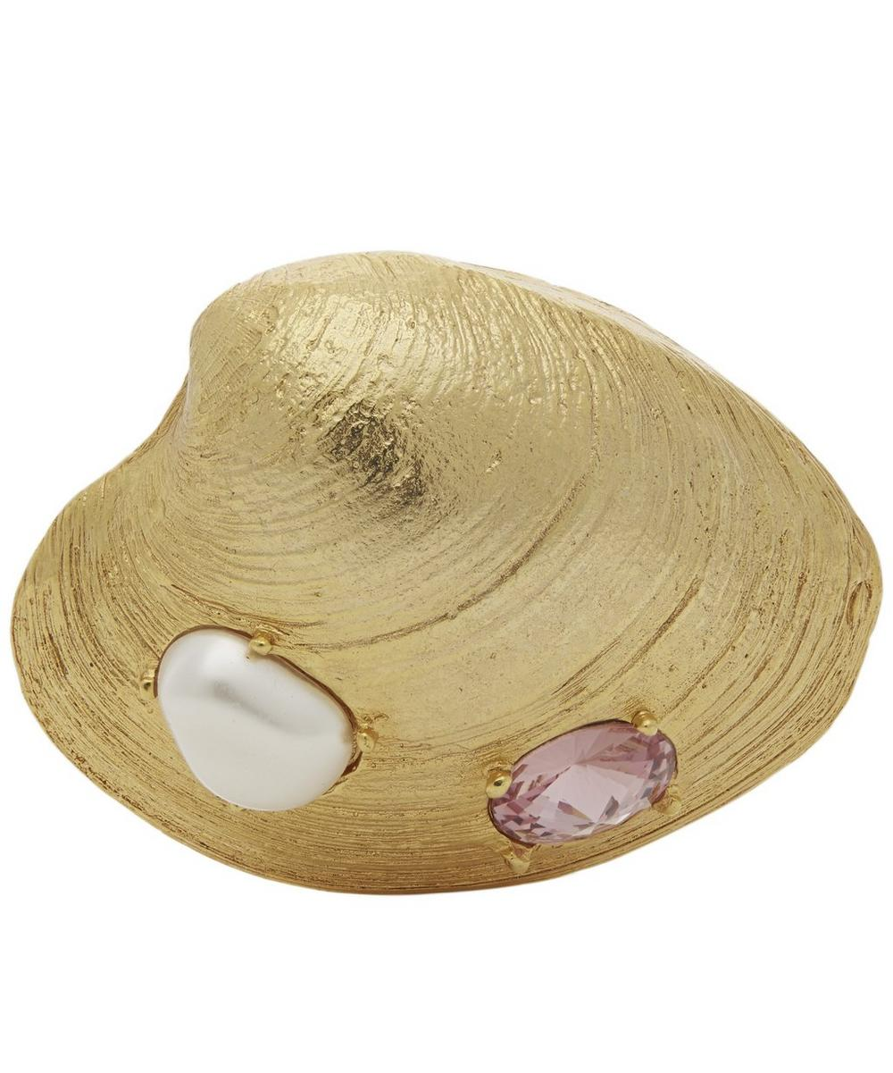 Gold-Tone Crystal Clam Shell Brooch