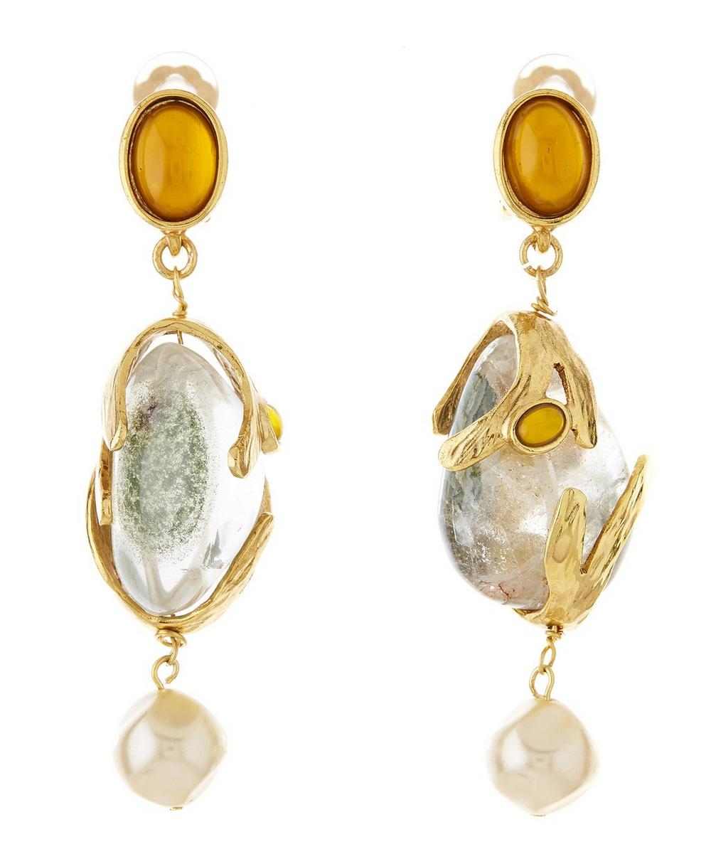 Gold-Tone Caged Beads Clip-On Earrings