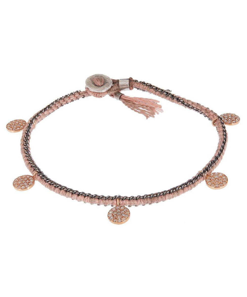 Rose Gold and Silver Diamond Coin Silk Chain Bracelet
