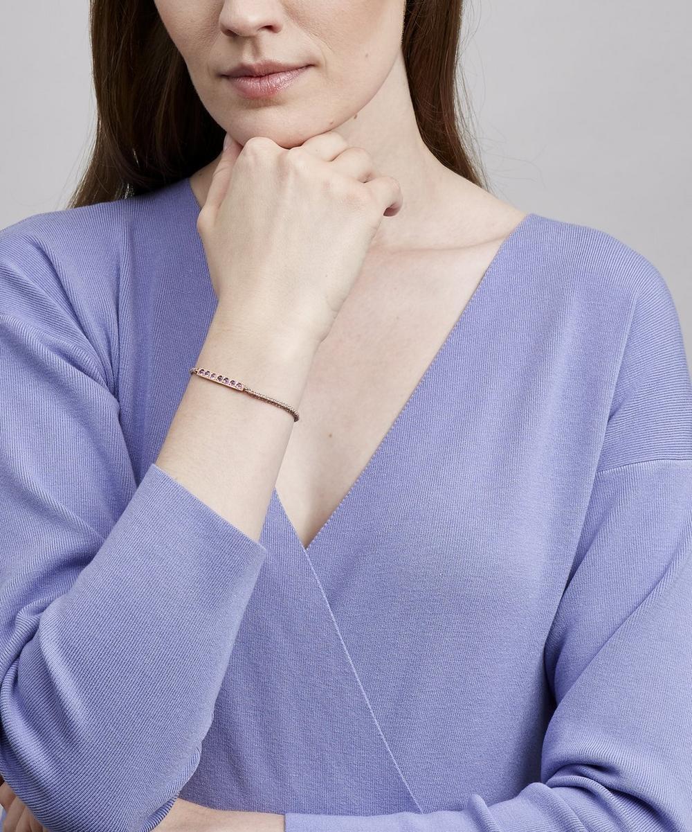 Rose Gold Pink Sapphire Bar Silk Chain Bracelet