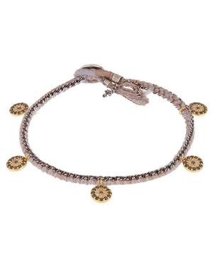 Gold and Silver Diamond Coin Silk Chain Bracelet