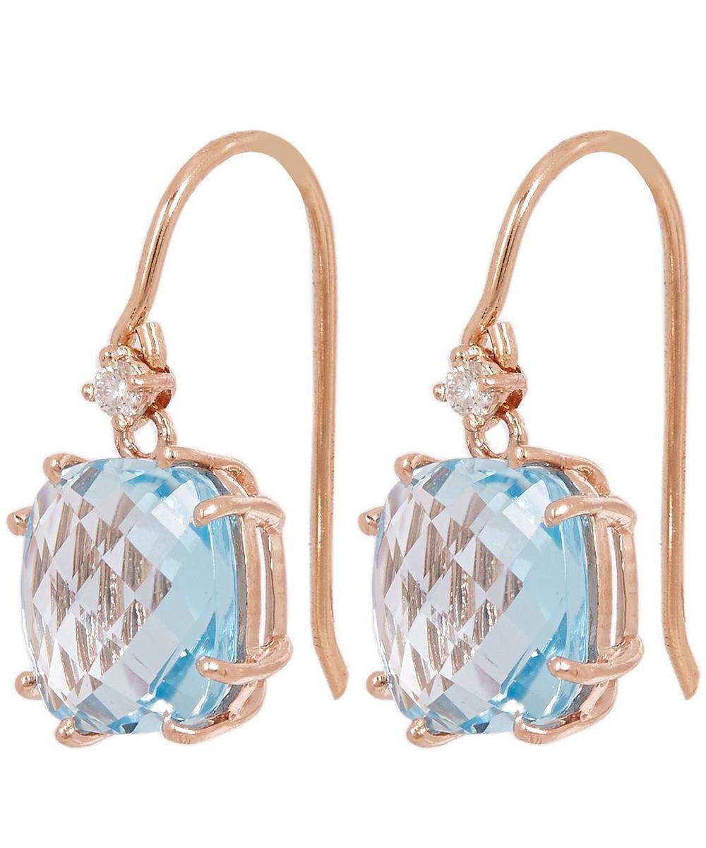 Rose Gold Blue Topaz Diamond Drop Earrings