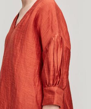 Jagua Crinkle Linen-Blend Top