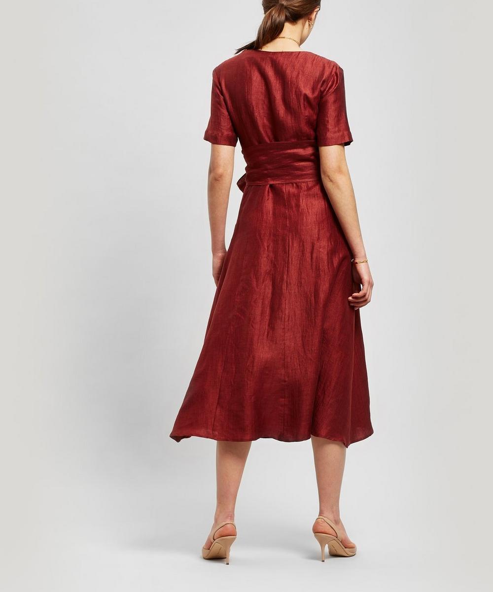 Regina Tie-Waist Linen-Blend Dress