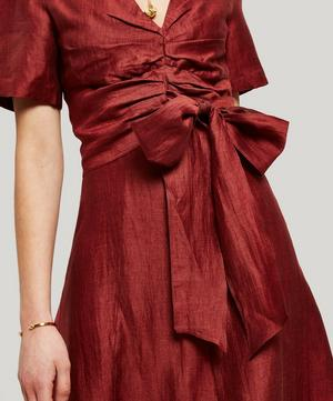 Regina Tie-Waist Linen-Blend Dress