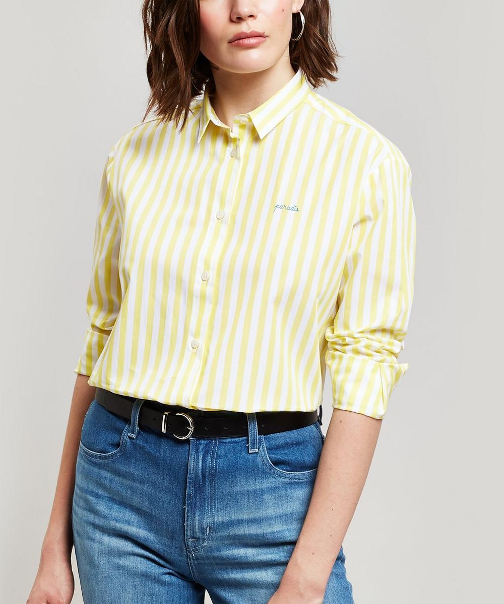 Paradis Embroidered Striped Cotton Boyfriend Shirt