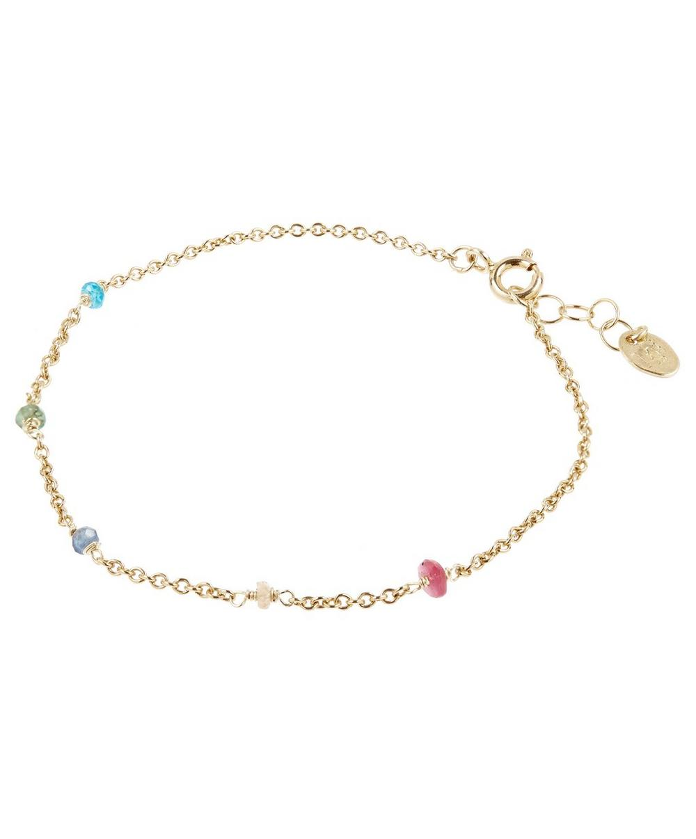 Gold-Plated Mixed Gem Loose Chain Bracelet