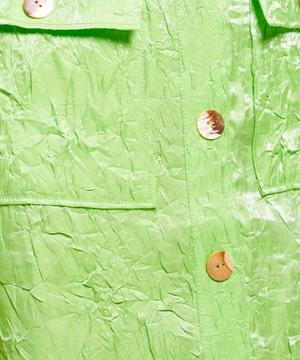 Crinkle Satin Midi-Skirt