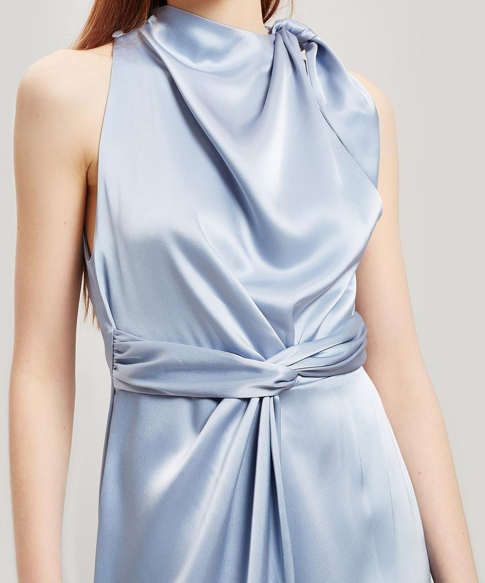 Kalila Tie Shoulder Satin Midi-Dress