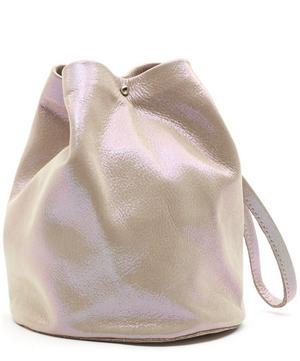 Leather Wristlet Bucket Bag