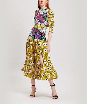 Cozi Clashing Print Midi-Dress