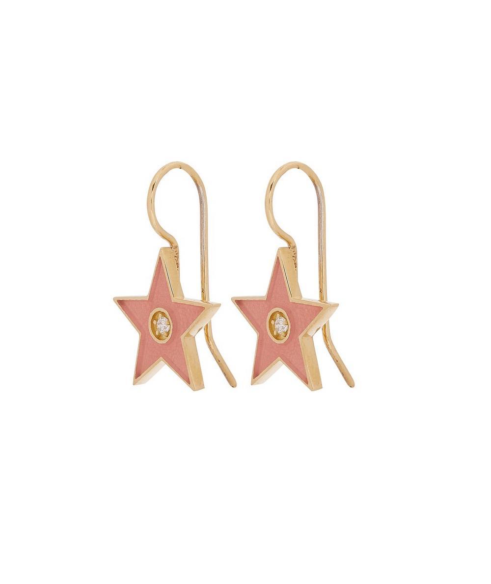 Gold Pink Enamel Diamond Star Drop Earrings