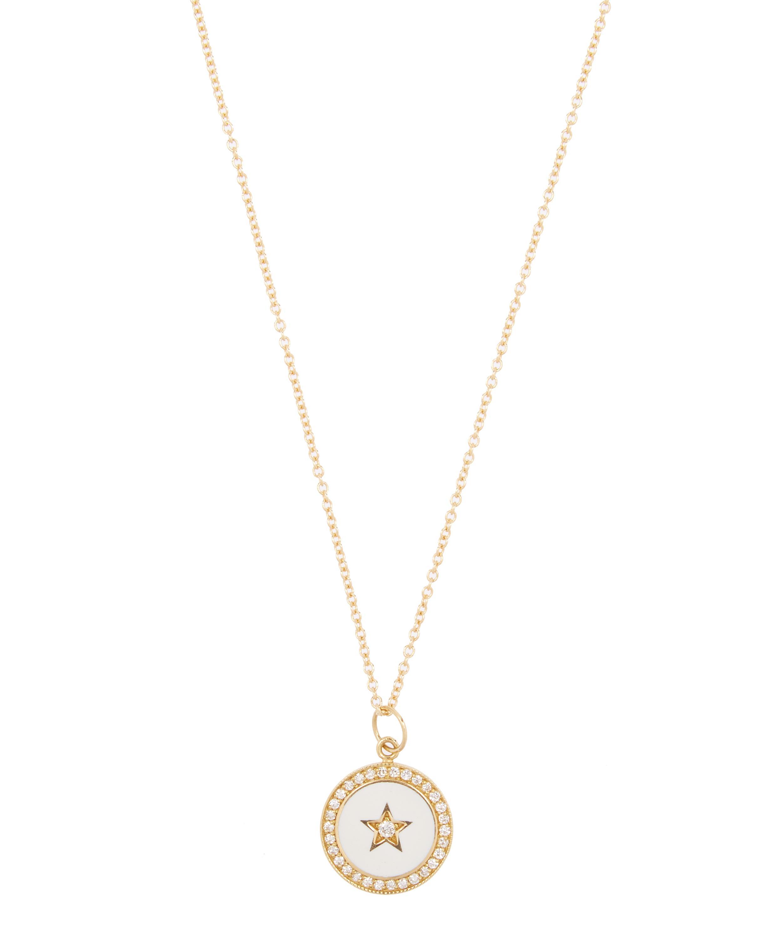 ccb10f745 Gold Diamond Enamel Full Moon Star Necklace
