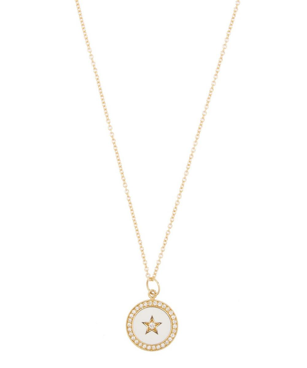 Gold Diamond Enamel Full Moon Star Necklace