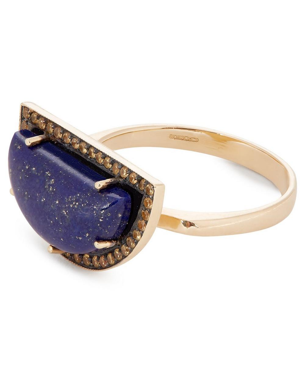 Gold Lapis Lazuli and Yellow Sapphire Rainbow Ring
