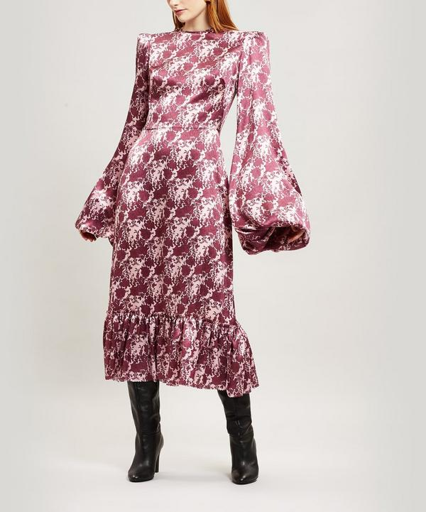 Belle Floral-Print Exaggerated Sleeve Silk Dress