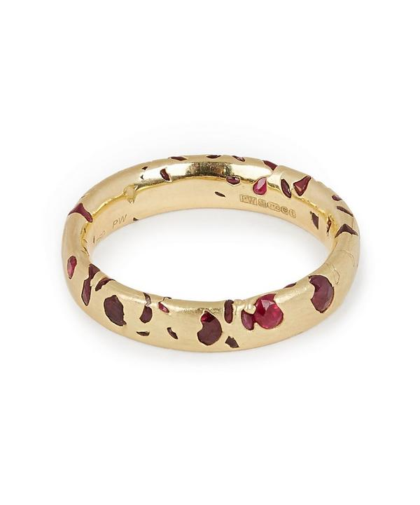 Gold Ruby Confetti Ring