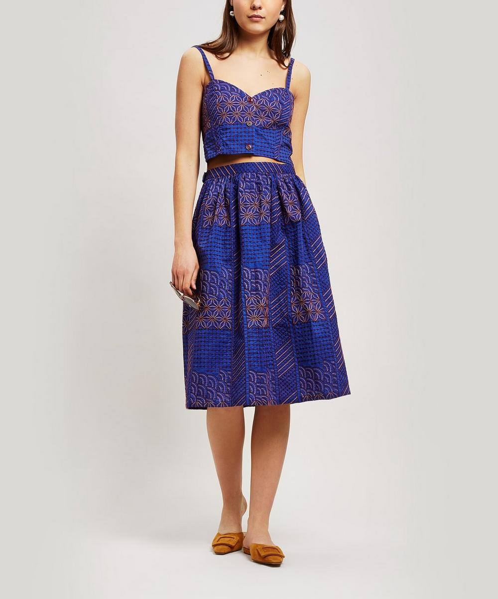 Melodia Embroidered A-Line Midi-Skirt