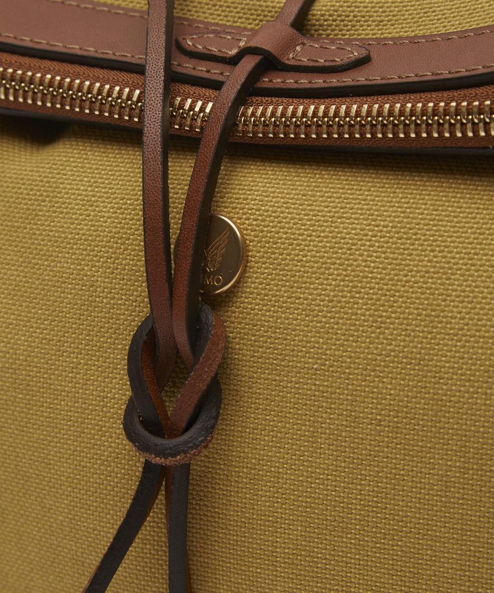 Canvas Zip Top Leather Tie Wash Bag
