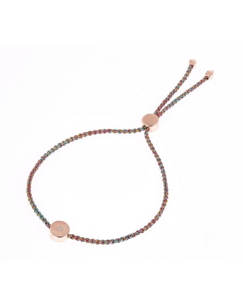 Rose Gold Vermeil Linear Solo Diamond Cord Friendship Bracelet