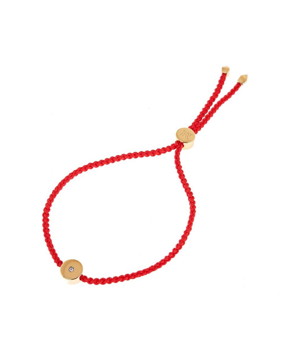 Gold Vermeil Linear Solo Diamond Cord Friendship Bracelet