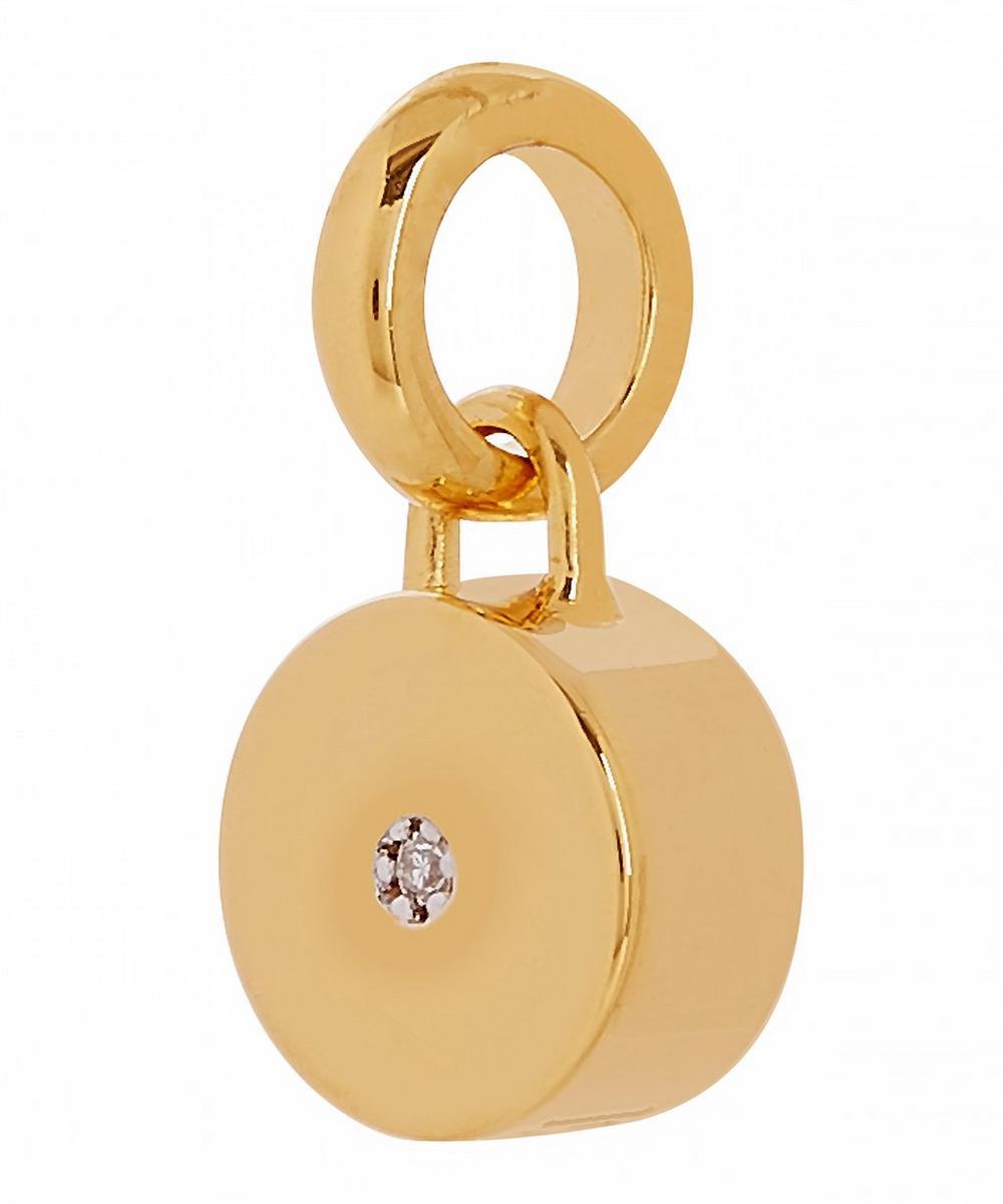 Gold Vermeil Linear Solo Diamond Pendant Charm