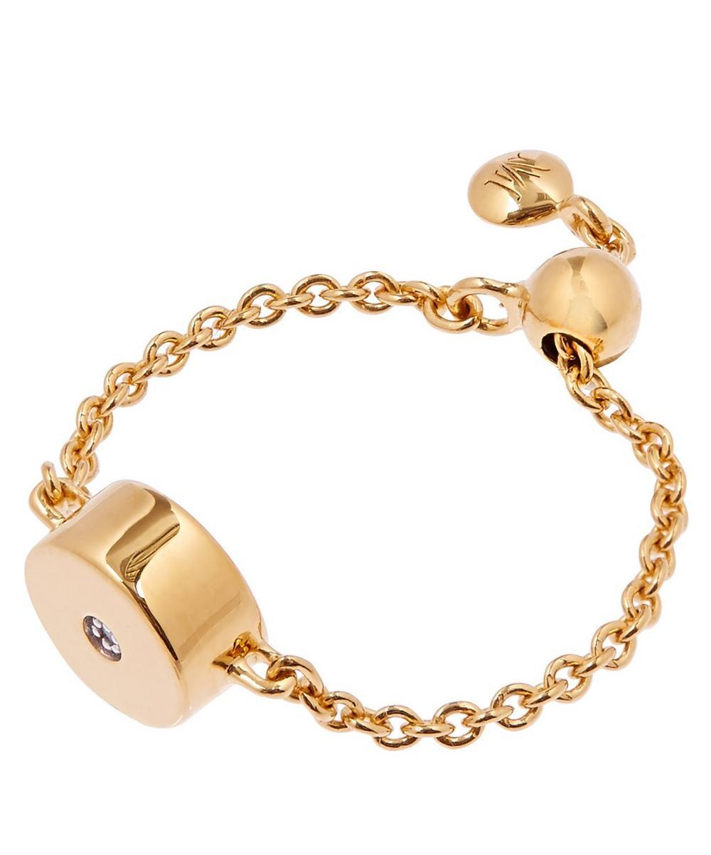 Gold Vermeil Linear Solo Diamond Friendship Chain Ring