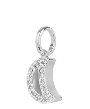 Silver Alphabet Diamond Moon Pendant