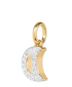Gold Vermeil Alphabet Diamond Moon Pendant