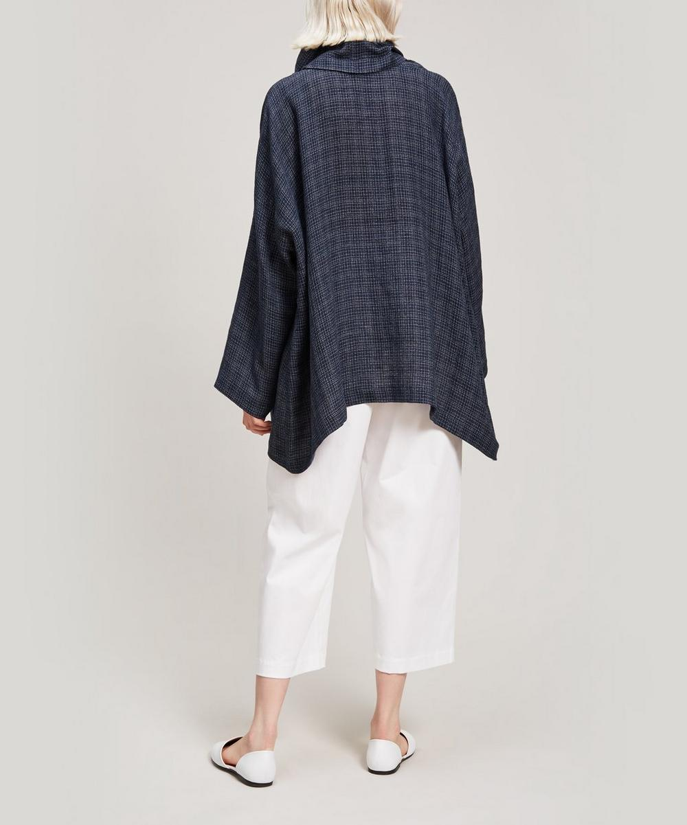 Checked Linen Monks Top