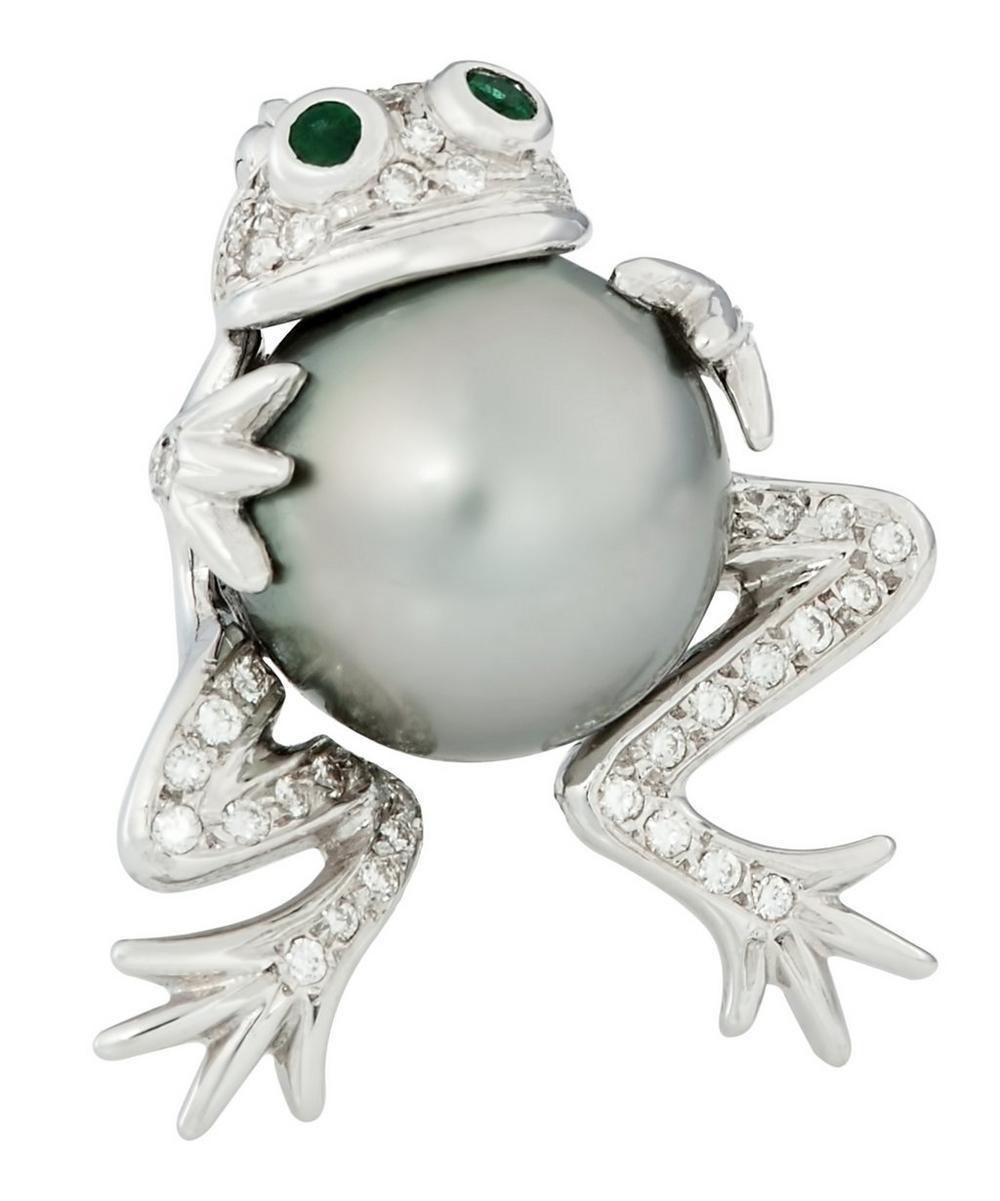 Platinum Tahitian Pearl Gemstone Frog Brooch