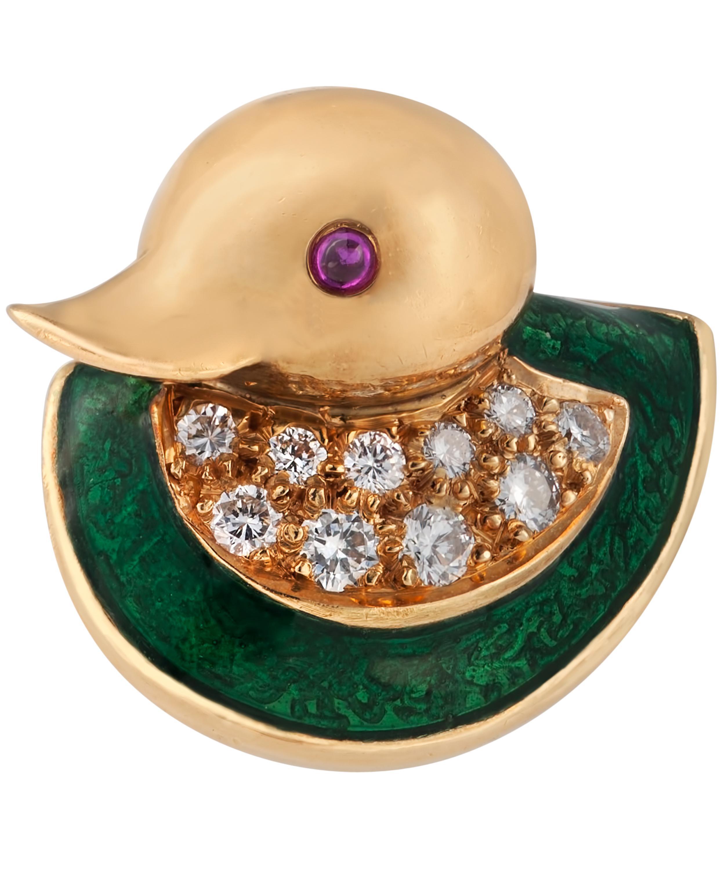 507836259d7 Gold Ruby and Diamond Enamel Duck Brooch