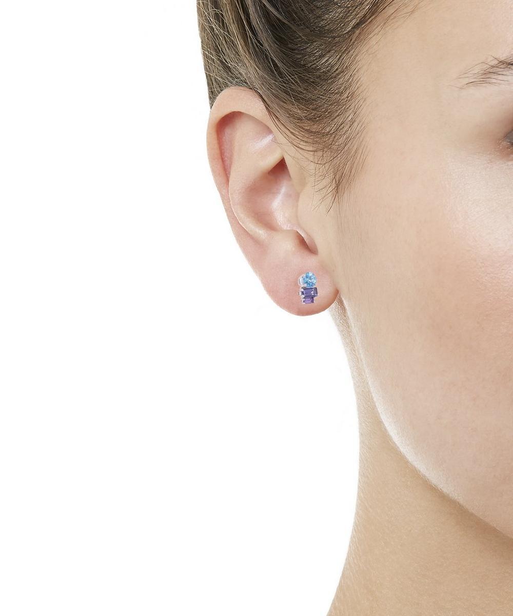 White Gold Morning Light Multi-Stone Stud Earrings