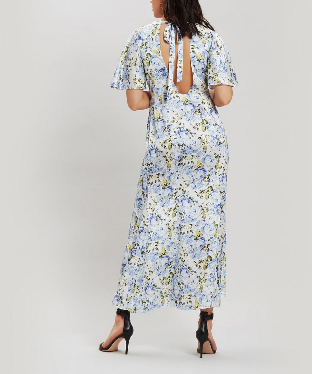 Petal Sleeve V-Neck Floral Dress