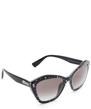 Star Print Geometric Cat-Eye Sunglasses