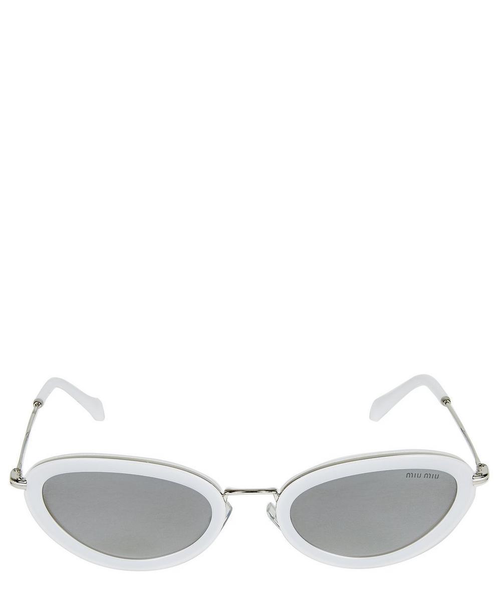 Miu Miu Slim Oval Sunglasses In Cream
