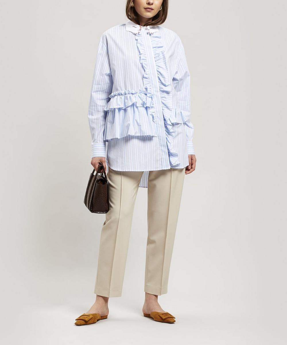 Sondiro Embroidered Collar Ruffle Shirt
