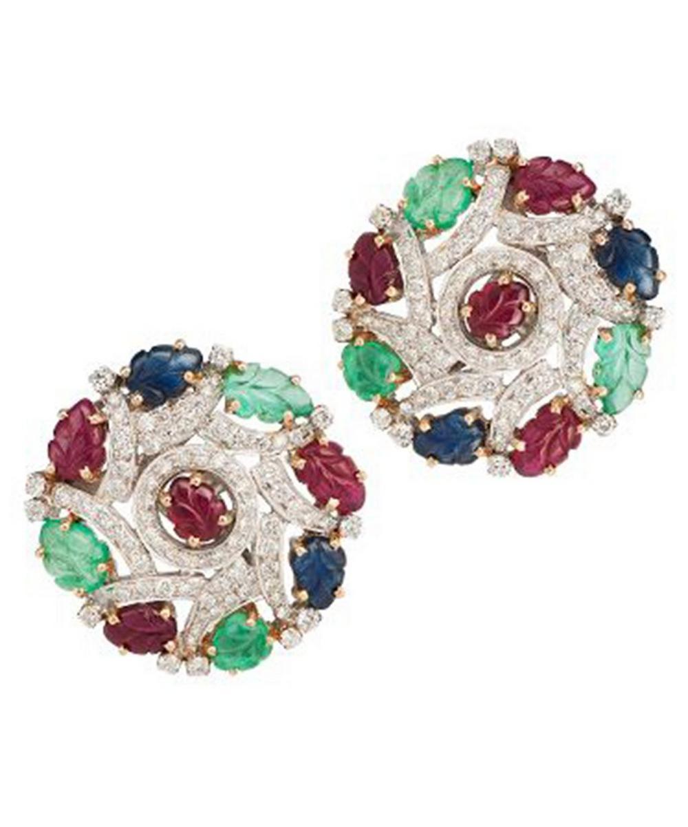 White Gold Multi-Stone Cluster Clip-On Stud Earrings