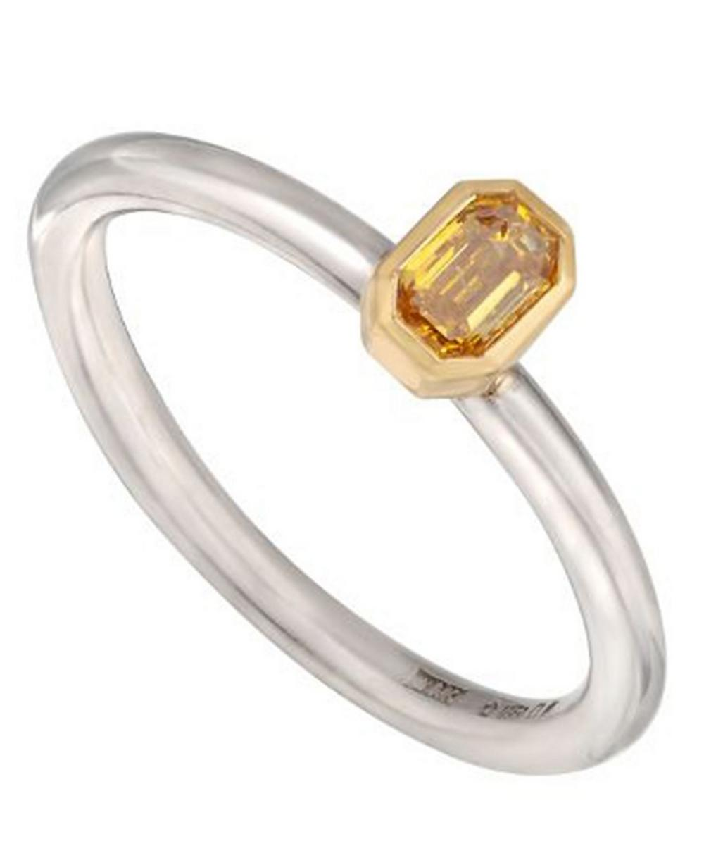 Gold and Platinum Yellow Diamond Solitaire Ring