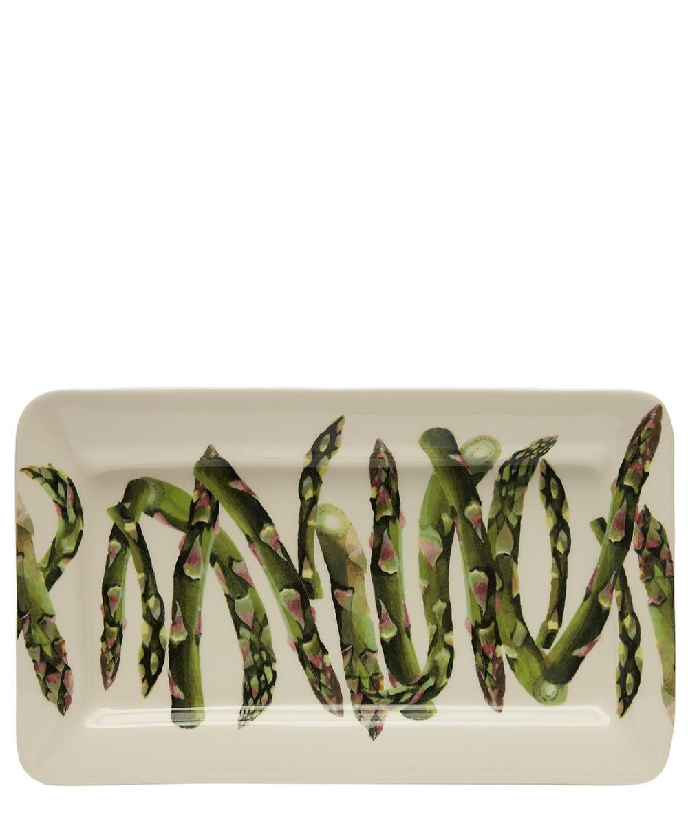 Vegetable Garden Asparagus Medium Oblong Plate