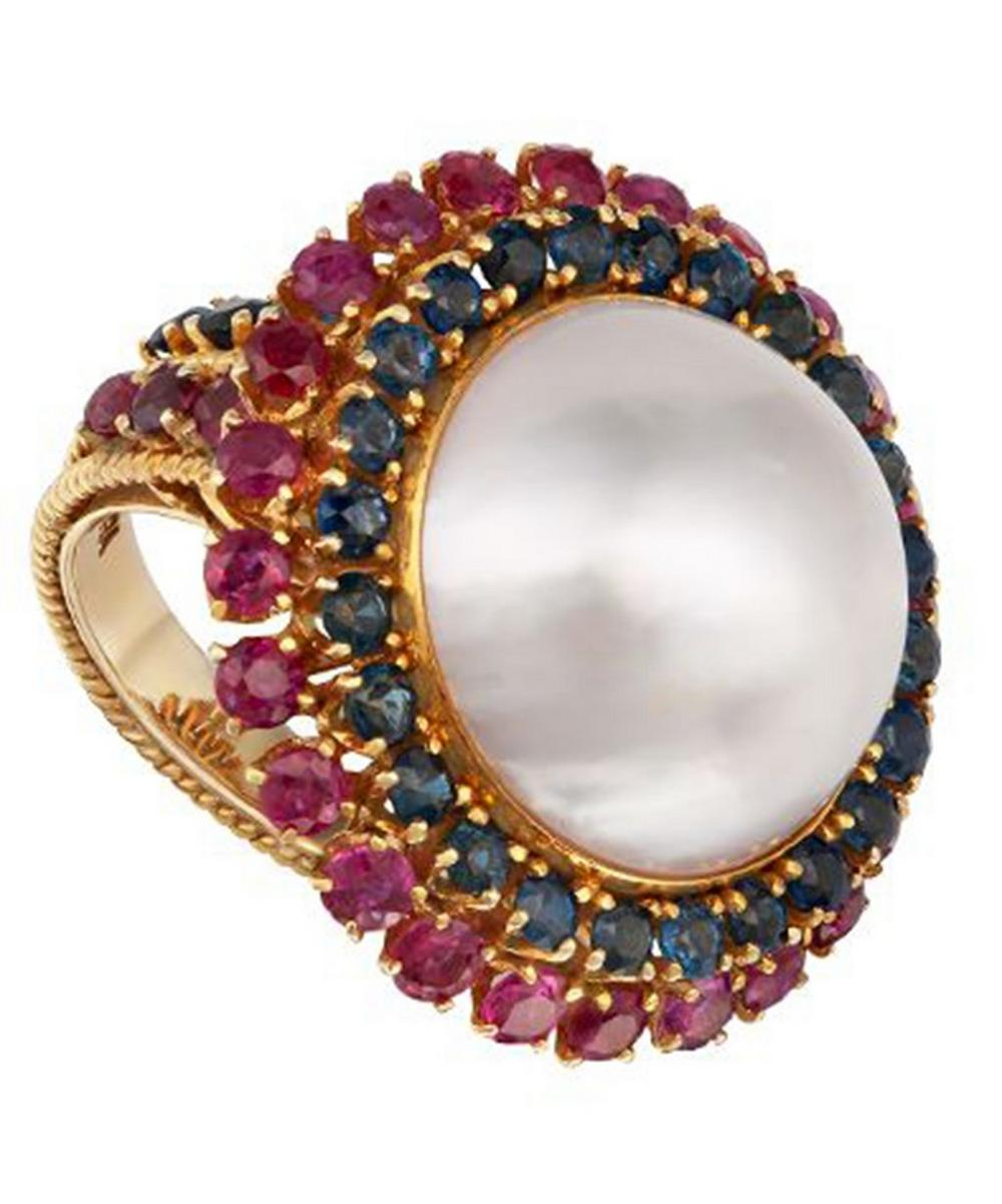 Gold Mabe Pearl Gemstone Cluster Ring