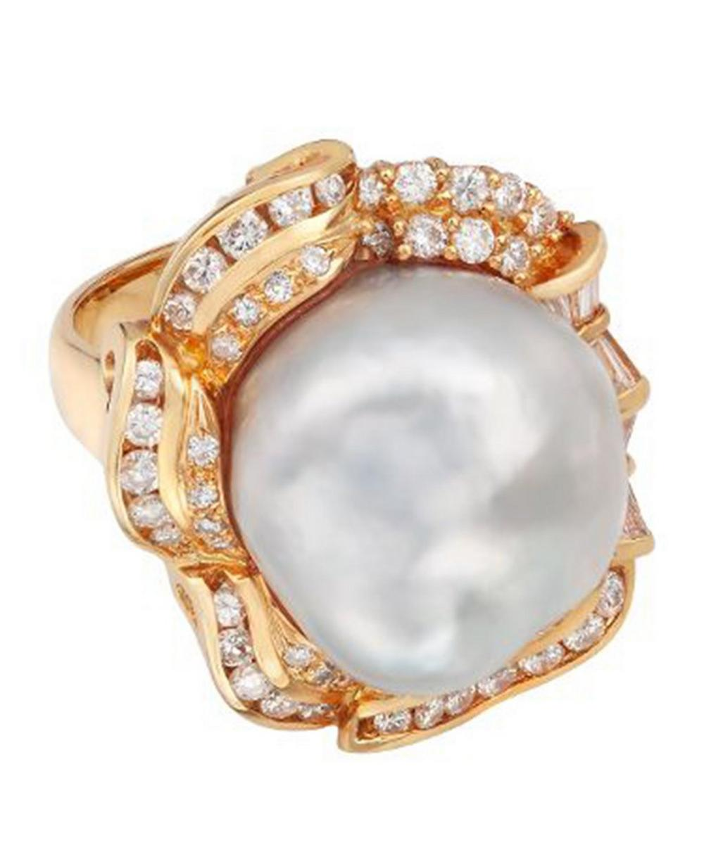 Gold Baroque Pearl and Diamond Cluster Ring