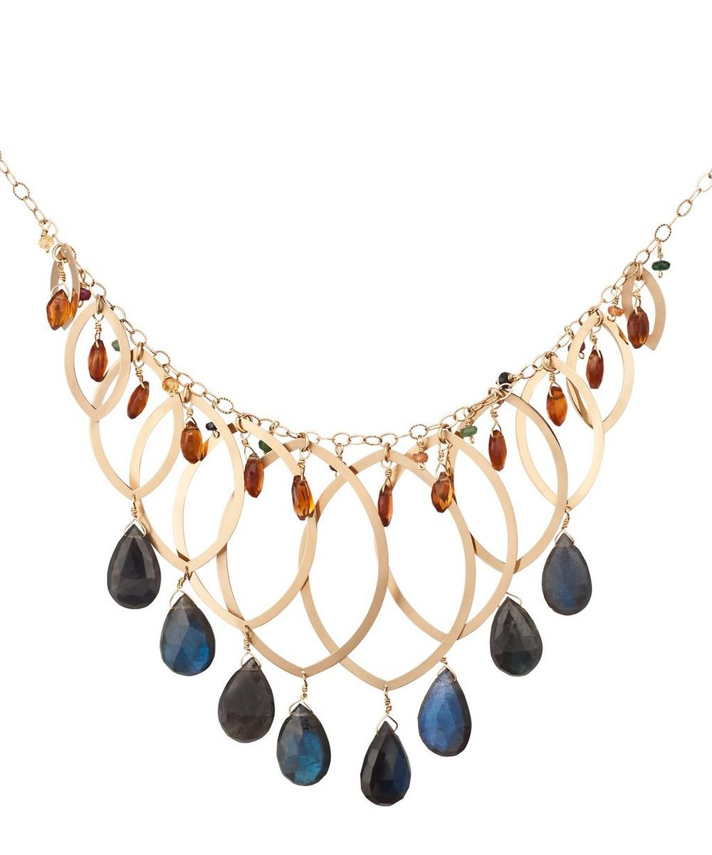 Gold Layered Multi-Stone Drop Necklace