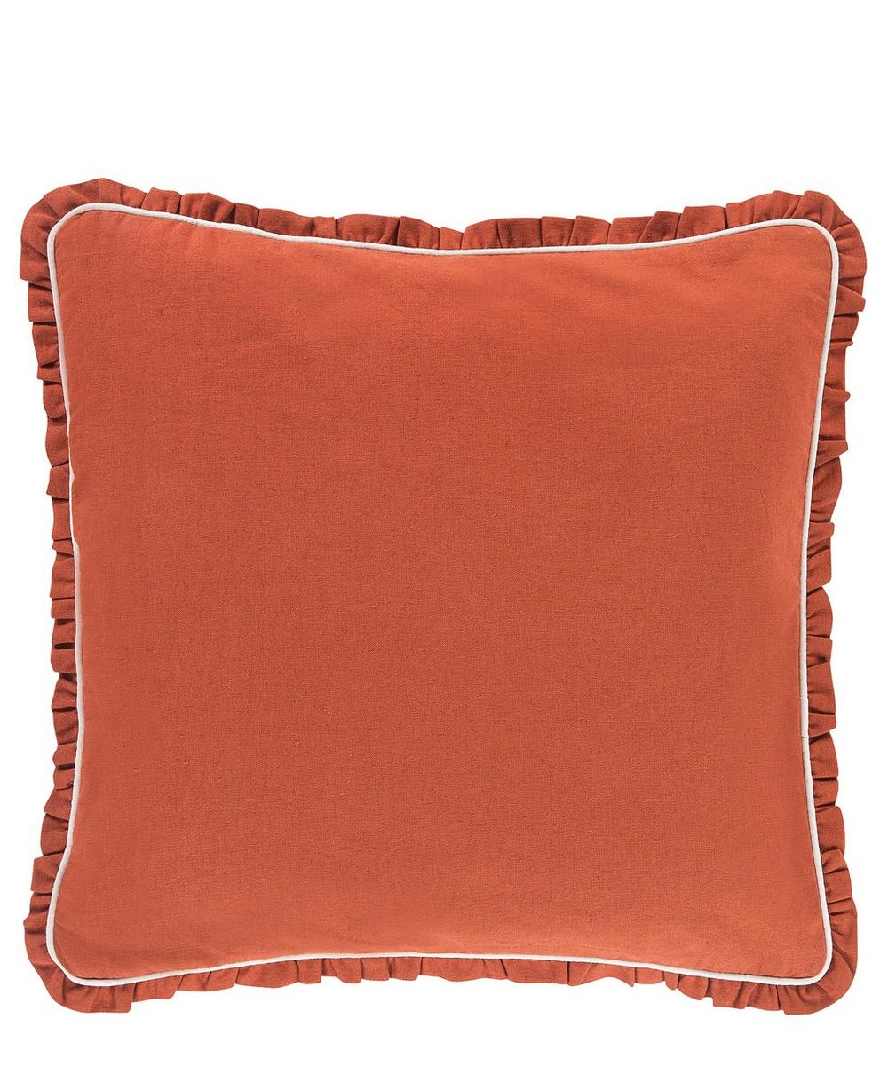 Ruffled Cotton-Linen Cushion
