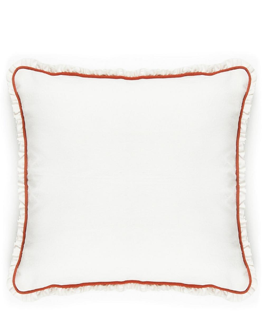 Ruffled Cotton-Linen Cushion