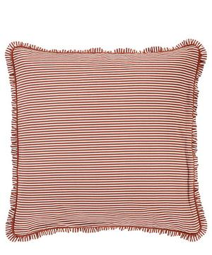 Ruffled Striped Cotton-Linen Cushion