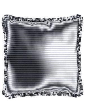 Ruffled Striped Cotton-Linen Cushion